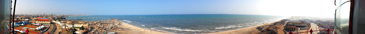 Panorama photo of the shore seen from Jamestown lighthouse in Accra