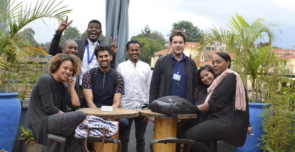 Digital team on roof of Nendo office in Nairobi. Photo by June Ondeng.